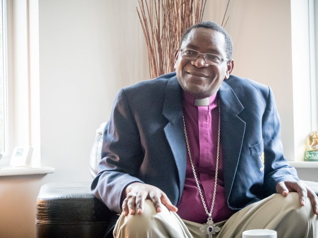 Bishop Given of Kondoa, Tanzania on  visit to Hever in Kent UK